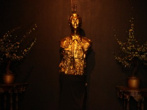 A bust (maybe made of gold?) of Marcos inside the mausoleum; the only thing we were allowed to take photo.